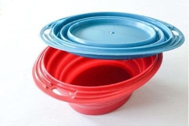 Two plastic dog bowls