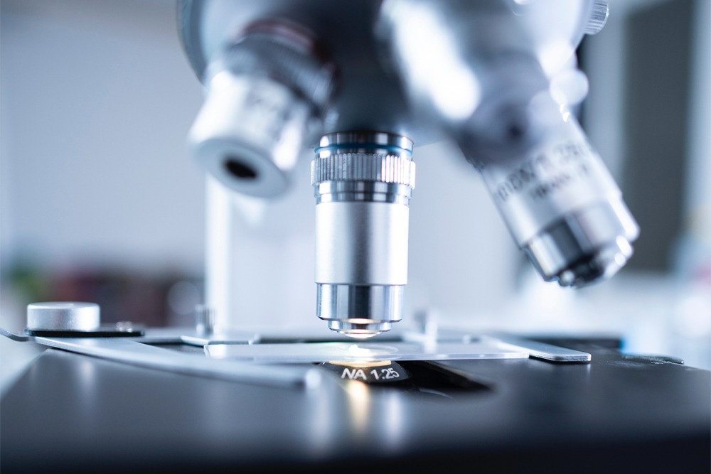 Analisi di un campione al microscopio