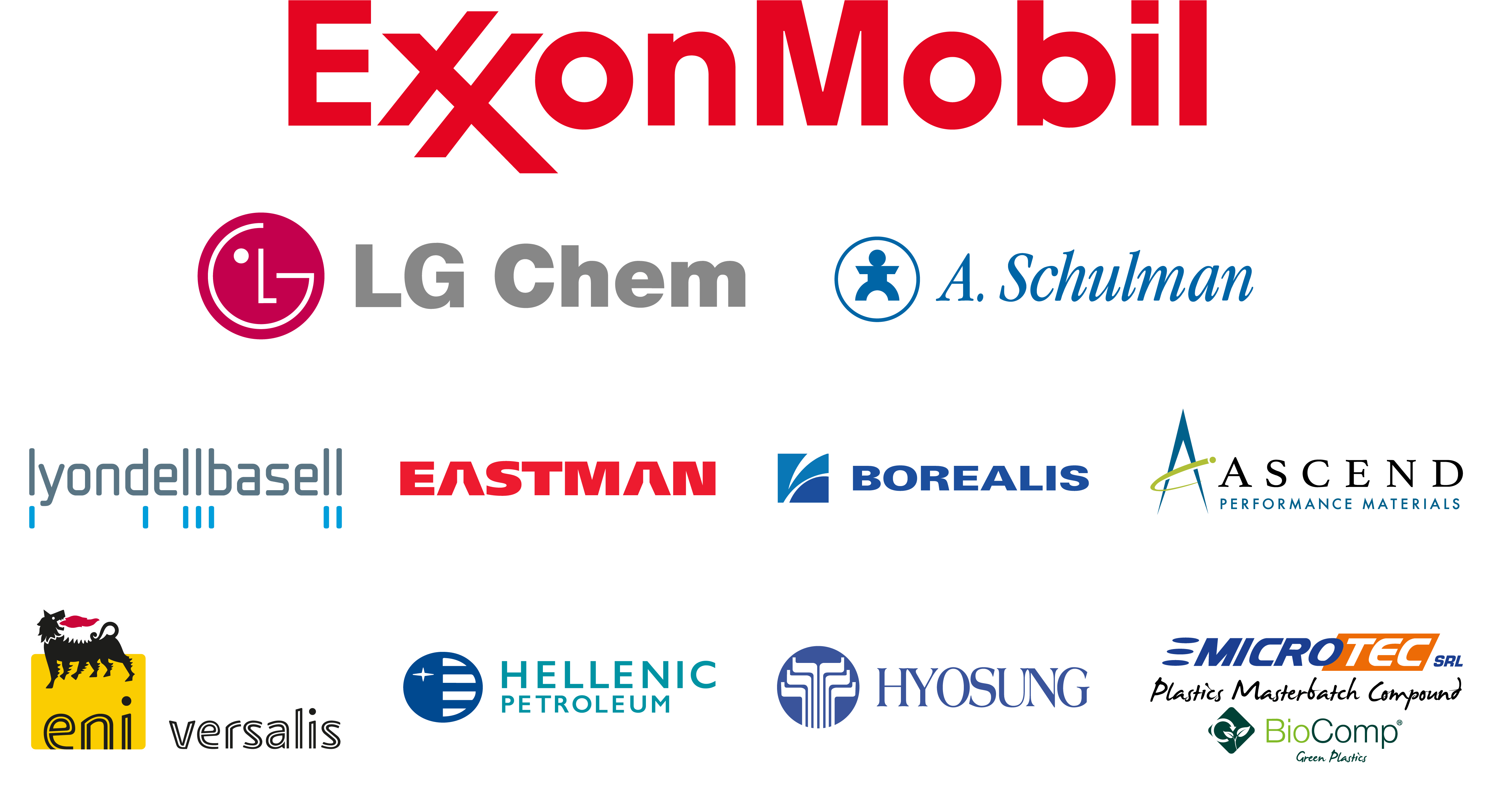 Logos of the main Interpolymer suppliers