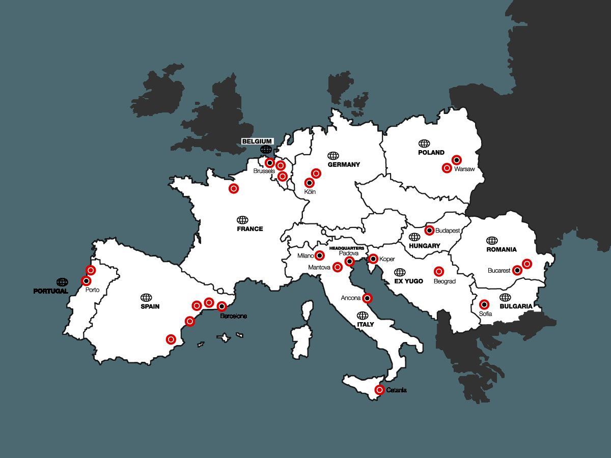Mappa europea con i vari centri di distribuzione di Interpolimeri