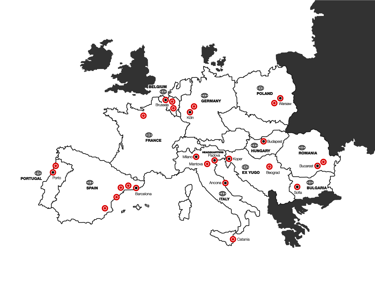 European map with the various Interpolymer distribution centers